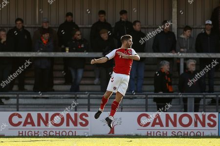 Ched Evans of Fleetwood Town celebrates scoring the opening goal