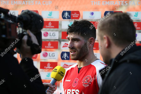 Ched Evans of Fleetwood Town interviewed after the match
