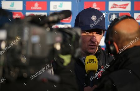 Stock Picture of Joey Barton manager of Fleetwood Town interviewed  after the match