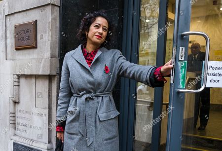 Television presenter and journalist, Samira Ahmed arrives at the Central London Employment Tribunal to attend an equal pay case hearing against the BBC.