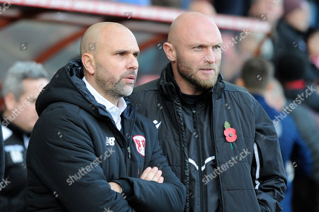 Carl Fletcher of Leyton Orient and Wayne Brown of Maldon & Tiptree prior the FA Cup first round between Leyton Orient and Scunthorpe United at the The Breyer Group Stadium in London, UK - 10th November 2019