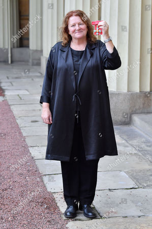 Stock Photo of Dame Rachel Whiteread, DBE - For services to Art-  after an Investiture at Buckingham Palace.