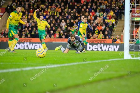 8th November 2019, Carrow Road, Norwich, England; Premier League, Norwich City v Watford : Tim Krul (01) of Norwich City watches his deflection roll away to safety Credit: Georgie Kerr/News Images