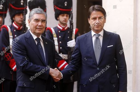 Italian Prime Minister Giuseppe Conte (R) and President of Turkmenistan Gurbanguly Berdimuhamedow (L) shake hands prior to their talks at Palazzo Chigi, in Rome, Italy, 07 November 2019. Berdimuhamedow is in Rome on an official visit to boost economic and bilateral ties between the two countries.