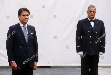 Italian Prime Minister Giuseppe Conte (L) waits for the arrival of President of Turkmenistan Gurbanguly Berdimuhamedow (not pictured) at Palazzo Chigi, in Rome, Italy, 07 November 2019. Berdimuhamedow is in Rome on an official visit to boost economic and bilateral ties between the two countries.
