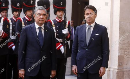 Italian Prime Minister Giuseppe Conte (R) and President of Turkmenistan Gurbanguly Berdimuhamedow (L) during a welcome ceremony prior to their talks at Palazzo Chigi, in Rome, Italy, 07 November 2019. Berdimuhamedow is in Rome on an official visit to boost economic and bilateral ties between the two countries.