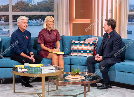 Stock Photo of Phillip Schofield and Holly Willoughby with Emilio Estevez