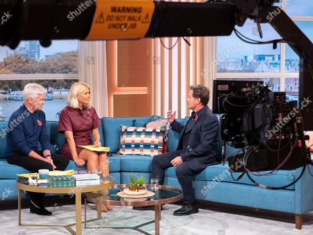 Stock Picture of Phillip Schofield and Holly Willoughby with Emilio Estevez