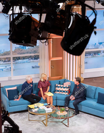 Stock Image of Phillip Schofield and Holly Willoughby with Emilio Estevez