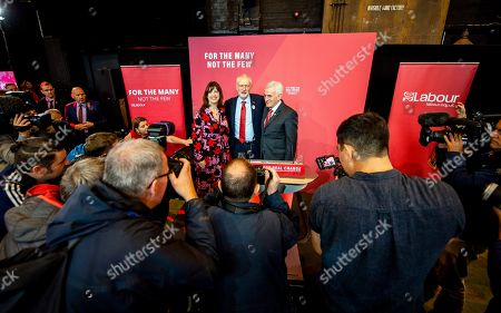 Labour Party leader Jeremy Corbyn (C) stands with Lucy Powell (L) and Shadow Chancellor John McDonnell (R) at a Labour Party rally in Liverpool, Britain, 07 November 2019. Britons go to the polls on 12 December in a general election.