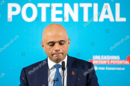 Chancellor of the Exchequer Sajid Javid makes his speech at the Runway Visitor Centre at Manchester Airport this morning as part of the General Election Campaign.