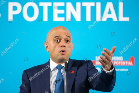 Stock Image of Chancellor of the Exchequer Sajid Javid makes his speech at the Runway Visitor Centre at Manchester Airport this morning as part of the General Election Campaign.