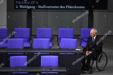The president of the German Parliament Bundestag Wolfgang Schaeuble prior to a voting session, held on the election of a Alternative fuer Deutschland (AfD) candidate for the office of Bundestag vice president, during a session of the German parliament Bundestag in Berlin, Germany, 07 November 2019. Alternative for Germany party (AfD) Member of Parliament and candidate for the office of Bundestag vice president Paul Viktor Podolay?s (not in the picture) first attempt to be elected as Vice President of the German Bundestag failed in September.