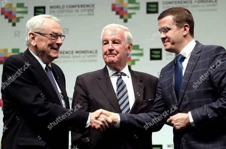 Stock Picture of (L-R) WADA's first president Richard W. Pound, president of World Anti-Doping Agency (WADA) Craig Reedie and Polish Minister of Sports and Tourism, president in spe WADA Witold Banka attend the closing ceremony of the 5th WADA World Conference on Doping in Sport at the International Conference Center in Katowice, Poland, 07 November 2019. Witold Banka will be approved as the president of the World Anti-Doping Agency (WADA) during its congress.