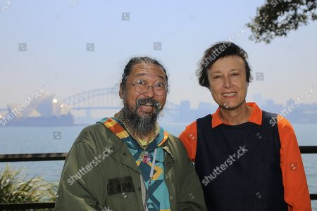 Japanese contemporary artist Takashi Murakami (L) and British visual artist Cornelia Parker OBE pose for a photograph at Mrs Macquarie's Chair in Sydney, New South Wales (NSW), Australia, 31 October 2019.