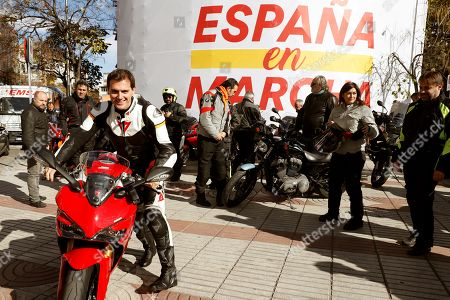 Leader of Ciudadanos party, Albert Rivera (L) poses with his motorbike before leaving the party's headquarters for Herrera de Duero to attend a rally, in Valladolid, Spain, 07 November 2019. During his visit to Herrera de Duero he will also be meeting with organizers of the 'Pinguinos' Motorbike gathering. Spain will hold the general elections on upcoming 10 November 2019 after Spanish socialist Prime Minister Pedro Sanchez failed to form a government following the 28 April elections.