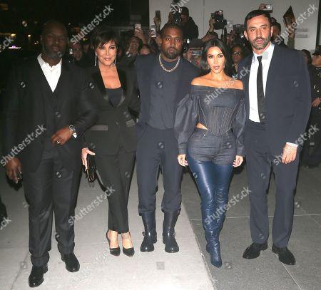 Corey Gamble, Kris Jenner, Kanye West, Kim Kardashian West, Riccardo Tisci