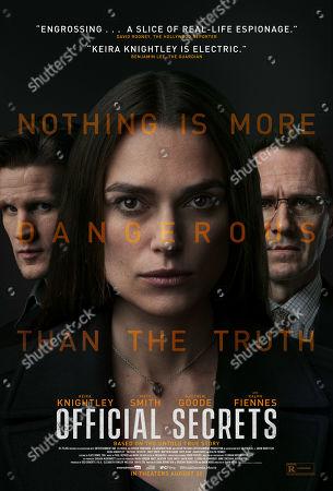 Official Secrets (2019) Poster Art. Matt Smith as Martin Bright, Keira Knightley as Katharine Gun and Ralph Fiennes as Ben Emmerson