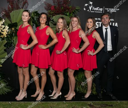(L-R) Team France's Kristina Mladenovic, Caroline Garcia, Fiona Ferro, Pauline Parmentier, Alize Cornet and Julien Benneteau pose for a photo ahead of the 2019 Fed Cup Final Dinner at the State Reception Centre in Perth, Western Australia, Australia, 07 November 2019.