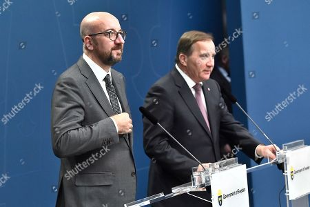 Sweden's Prime Minister Stefan Lofven (R) and Charles Michel, President-elect of the European Council, hold joint press conference at the Adelcrantzska house in Stockholm, Sweden, 07 November 2019. Michel is in Sweden to discuss issues related to the European Council's agenda, including Brexit, as well as the multiannual budget and migration.
