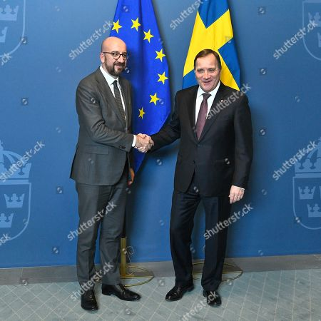 Sweden's Prime Minister Stefan Lofven (R) welcomes Charles Michel, President-elect of the European Council, at the Adelcrantzska house in Stockholm, Sweden, 07 November 2019. Michel is in Sweden to discuss issues related to the European Council's agenda, including Brexit, as well as the multiannual budget and migration.