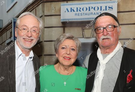 Stock Image of German actor Joachim Hermann Luger, actress Marie-Luise Marjan and author and director Hans W. Geissendoerfer pose after a photo-call of the German television drama series â??Lindenstrasseâ?? (lit. Lime Street) at the German Cinematheque (Deutsche Kinemathek) - Museum of Film and Television in Berlin, Germany, 07 November 2019. The TV series is broadcast weekly by Das Erste since the first episode aired on 08 December 1985. The museum opens a new collection Lindenstrasse with 373 episodes of the series which are permanently in the inventory of the museum.