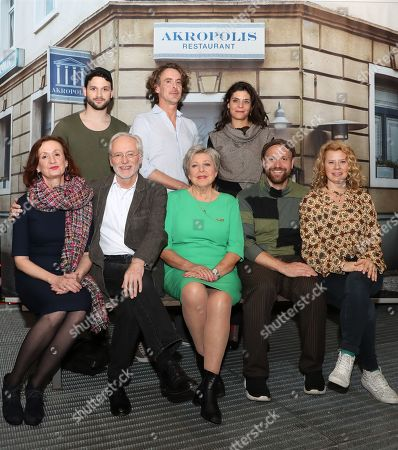 (first, L-R) Cast members, Irene Fischer, Joachim Hermann Luger, Marie-Luise Marjan, Moritz A. Sachs, Jacqueline Svilarov, (second, L-R) Arne Rudolf, Gunnar Solka, Sara Turchetto pose during a photo-call of the German television drama series â??Lindenstrasseâ?? (lit. Lime Street) at the German Cinematheque (Deutsche Kinemathek) - Museum of Film and Television in Berlin, Germany, 07 November 2019. The TV series is broadcast weekly by Das Erste since the first episode aired on 08 December 1985. The museum opens a new collection Lindenstrasse with 373 episodes of the series which are permanently in the inventory of the museum.
