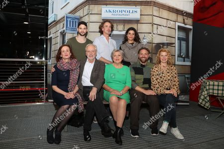Stock Picture of (first, L-R) Cast members, Irene Fischer, Joachim Hermann Luger, Marie-Luise Marjan, Moritz A. Sachs, Jacqueline Svilarov, (second, L-R) Arne Rudolf, Gunnar Solka, Sara Turchetto pose during a photo-call of the German television drama series â??Lindenstrasseâ?? (lit. Lime Street) at the German Cinematheque (Deutsche Kinemathek) - Museum of Film and Television in Berlin, Germany, 07 November 2019. The TV series is broadcast weekly by Das Erste since the first episode aired on 08 December 1985. The museum opens a new collection Lindenstrasse with 373 episodes of the series which are permanently in the inventory of the museum.