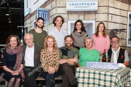 (first, L-R) Cast members, Irene Fischer, Joachim Hermann Luger, Jacqueline Svilarov, Moritz A. Sachs, Marie-Luise Marjan, author and director Hans W. Geissendoerfer, (second, L-R) cast members, Arne Rudolf, Gunnar Solka, Sara Turchetto and Hana Geissendoerfer pose during a photo-call of the German television drama series â??Lindenstrasseâ?? (lit. Lime Street) at the German Cinematheque (Deutsche Kinemathek) - Museum of Film and Television in Berlin, Germany, 07 November 2019. The TV series is broadcast weekly by Das Erste since the first episode aired on 08 December 1985. The museum opens a new collection Lindenstrasse with 373 episodes of the series which are permanently in the inventory of the museum.