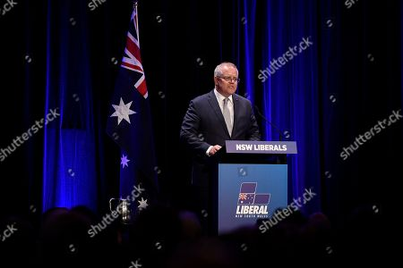 Australian Prime Minister Scott Morrison addresses a tribute dinner for former prime minister Tony Abbott at the Miramare Gardens in Sydney, New South Wales, Australia, 07 November 2019.