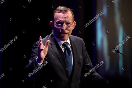 Former prime minister Tony Abbott speaks during his tribute dinner at the Miramare Gardens in Sydney, New South Wales, Australia, 07 November 2019.