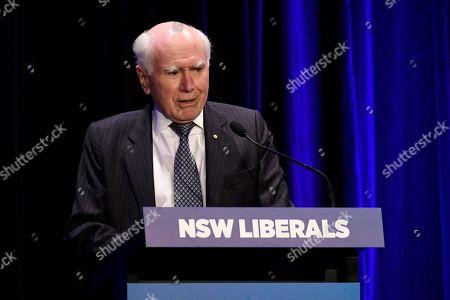 Former prime minister John Howard addresses during a tribute dinner for former prime minister Tony Abbott at the Miramare Gardens in Sydney, New South Wales, Australia, 07 November 2019.