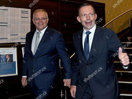 Australian Prime Minister Scott Morrison (L) and former prime minister Tony Abbott (R) arrive for a tribute dinner at the Miramare Gardens in Sydney, New South Wales, Australia, 07 November 2019.