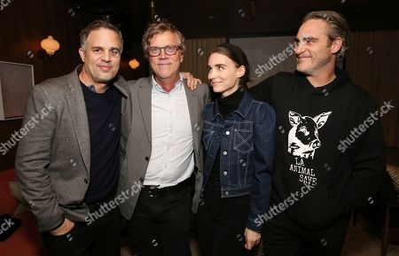 """Stock Photo of Mark Ruffalo, Todd Haynes, Rooney Mara, Joaquin Phoenix. Mark Ruffalo, Todd Haynes, Rooney Mara and Joaquin Phoenix seen at the """"Dark Waters"""" Tastemaker Screening hosted by Rooney Mara and RAD, in West Hollywood, Calif"""