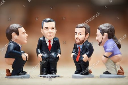 A view of small figurines of Catalan traditional Christmas crib called 'caganers' (lit. defecators) depicting Spanish presidential candidates (L-R) Albert Rivera of Ciudadanos (lit. Citizens) party, acting Prime Minister Pedro Sanchez of PSOE; Pablo Casado of People's Party (PP) and Pablo Iglesias of Unidas Podemos during the launching by its manufacturer in Torroella de Montgri, Girona, Catalonia, Spain, 07 November 2019. The 'caganer' is a traditional figure of the Catalan nativity scenes for at least two centuries.