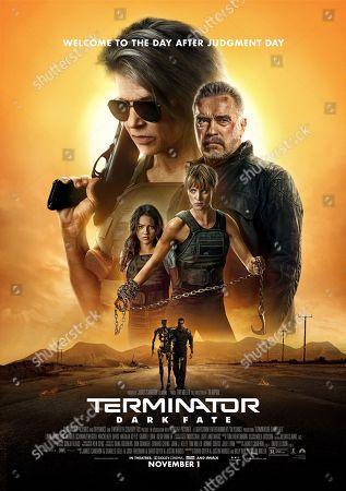 Terminator: Dark Fate (2019) Poster Art. Linda Hamilton as Sarah Connor, Arnold Schwarzenegger as T-800/Carl, Natalia Reyes as Dani Ramos and Mackenzie Davis as Grace