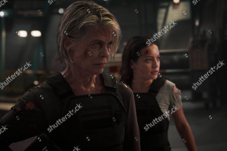 Linda Hamilton as Sarah Connor and Natalia Reyes as Dani Ramos