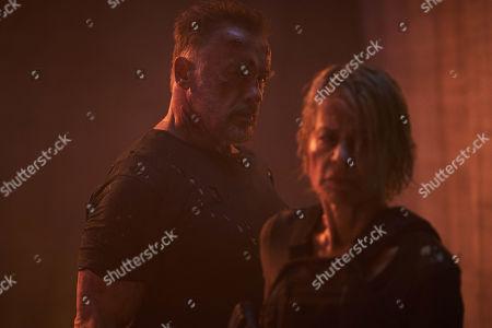 Arnold Schwarzenegger as T-800/Carl and Linda Hamilton as Sarah Connor