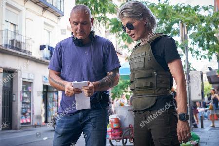 Tim Miller Director and Linda Hamilton as Sarah Connor
