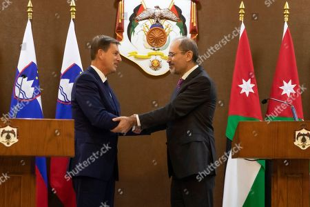 Slovenian Foreign Minister Miro Cerar (L) shakes hand with his Jordanian counterpart Ayman Safadi (R) at the Foreign Ministry, in Amman, Jordan, 07 November 2019.