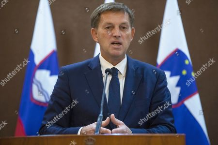 Slovenian Foreign Minister Miro Cerar speaks during a short statement given with his Jordanian counterpart Ayman Safadi, at the Foreign Ministry, in Amman, Jordan, 07 November 2019.
