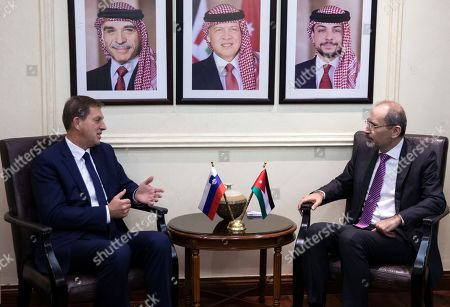 Slovenian Foreign Minister Miro Cerar (L) gestures during a meeting with his Jordanian counterpart Ayman Safadi (R) at the Foreign Ministry, in Amman, Jordan, 07 November 2019.