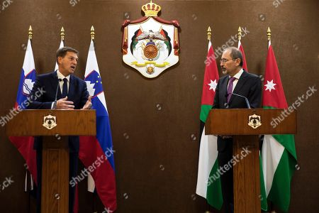 Slovenian Foreign Minister Miro Cerar (L) speaks during a short press conference given with his Jordanian counterpart Ayman Safadi (R) at the Foreign Ministry, in Amman, Jordan, 07 November 2019.
