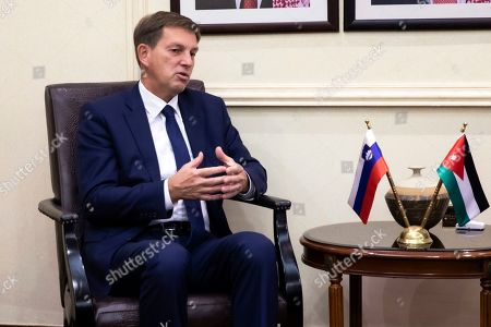 Slovenian Foreign Minister Miro Cerar gestures during a meeting with his Jordanian counterpart Ayman Safadi, at the Foreign Ministry, in Amman, Jordan, 07 November 2019.