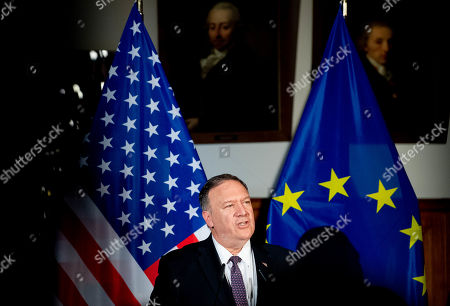 US State Secretary Mike Pompeo speaks during a press conference with German Foreign Minister Heiko Mass (not pictured) at the Old Town Hall in Leipzig, Germany 07 November 2019. Pompeo is in Germany ahead of the 30th anniversary of the fall of the Berlin Wall, which led to the collapse of the communist East German government in 1989 and the eventual reunification of East and West Germany. Pompeo served in the U.S. armed forces and was a tank commander stationed in West Germany.