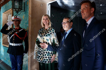 Ivanka Trump, Saadeddine el-Othmani, Sean Cairncross. Ivanka Trump, the daughter and senior adviser to President Donald Trump, shakes hands with Moroccan Prime Minister Saadeddine el-Othmani, as they pose for a photograph before their meeting in Rabat, Morocco. At right is Sean Cairncross, CEO of the Millennium Challenge Corporation