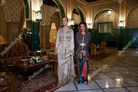 Stock Image of Ivanka Trump, Lalla Meryem. Wearing Moroccan caftans, Ivanka Trump, the daughter and senior adviser to President Donald Trump, left, stands with Princess Lalla Meryem of Morocco, before a dinner at the Royal Guest House in Rabat, Morocco