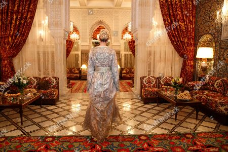 Wearing a Moroccan caftan, Ivanka Trump, the daughter and senior adviser to President Donald Trump, walks to greet Princess Lalla Meryem of Morocco, before a dinner at the Royal Guest House in Rabat, Morocco. As Trump was staying at the Guest House she greeted the Princess upon arrival before they welcomed guests together