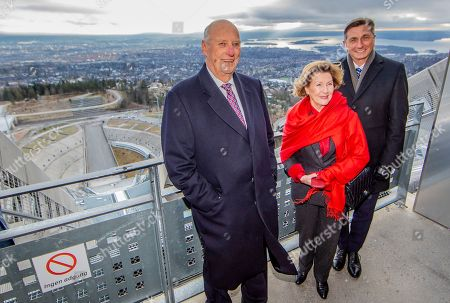 Norway's King Harald (L) and Queen Sonja and Slovenian President Borut Pahor visit the ski jump tower at Holmenkollen ski arena in Oslo, Norway, 07 November 2019.