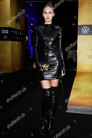 German model Elena Carriere arrives for the GQ Men of the Year 2019 awards show in Berlin, Germany, 07 November 2019. The international monthly men's magazine GQ presents the award to personalities from the show and music businesses as well as society, sport, politics, culture and fashion.